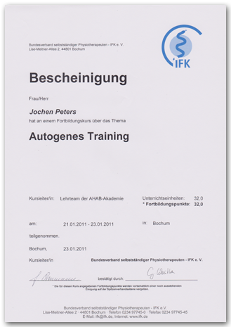 2011 Jochen Peters Autogenes Training